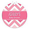 Chevron Pink - Personalized Baby Shower Tags - 20 ct
