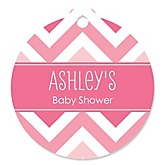 Pink Chevron - Personalized Baby Shower Round Tags - 20 Count