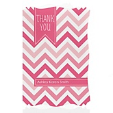 Pink Chevron - Personalized Baby Shower Thank You Cards