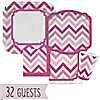 Chevron Pink - Birthday Party 32 Big Dot Bundle