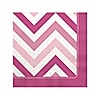Chevron Pink - Birthday Party Beverage Napkins - 16 ct