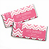 Chevron Pink - Personalized Birthday Party Candy Bar Wrapper Favors