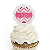 Chevron Pink - Personalized Birthday Party Cupcake Pick and Sticker Kit - 12 ct