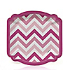 Chevron Pink - Birthday Party Dessert Plates - 8 ct