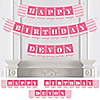 Chevron Pink - Personalized Birthday Party Bunting Banner & Decorations