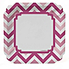 Chevron Pink - Birthday Party Dinner Plates - 8 ct