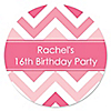 Chevron Pink - Personalized Birthday Party Sticker Labels - 24 ct