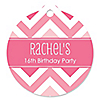 Chevron Pink - Round Personalized Birthday Party Tags - 20 ct