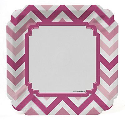 Chevron Pink - Bridal Shower Dinner Plates - 8 ct...