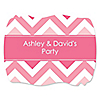 Chevron Pink - Personalized Everyday Party Squiggle Stickers - 16 ct