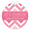 Chevron Pink - Round Personalized Everyday Party Tags - 20 ct