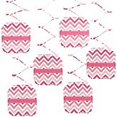 Chevron Pink - Baby Shower Hanging Decorations - 6 ct