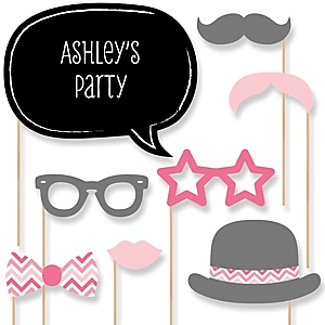 Pink Chevron - Baby Shower Photo Booth Props Kit - 20 Props