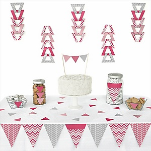 Chevron Pink - 72 Piece Triangle Party Decoration Kit