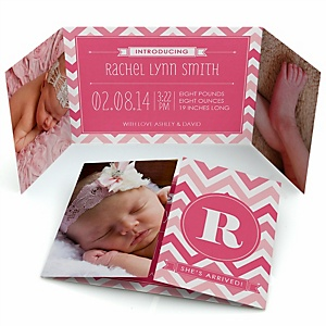 Chevron Pink - Photo Birth Announcements
