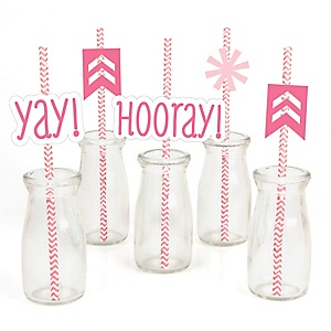 Chevron Pink - Paper Straw Decor - Baby Shower or Birthday Party Striped Decorative Straws - Set of 24