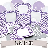 Purple Chevron - 16 Person Baby Shower Kit