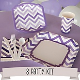 Purple Chevron - 8 Person Baby Shower Kit