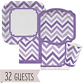 Purple Chevron - Baby Shower Tableware Bundle for 32 Guests