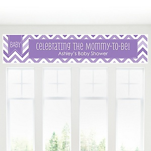 Chevron Purple - Personalized Baby Shower Banners