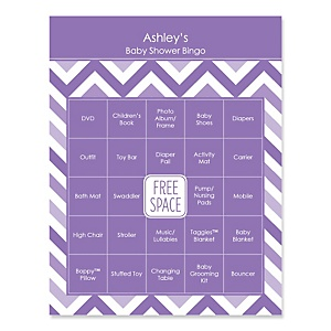 Purple Chevron - Bingo Personalized Baby Shower Games - 16 Count