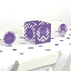 Chevron Purple - Baby Shower Centerpiece & Table Decoration Kit
