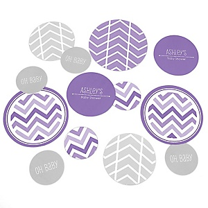 Purple Chevron - Personalized Baby Shower Table Confetti - 27 Count