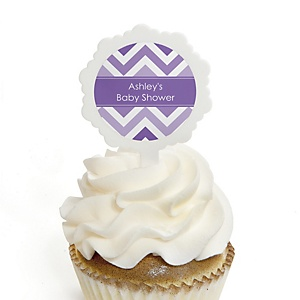 Chevron Purple - 12 Cupcake Picks & 24 Personalized Stickers - Baby Shower Cupcake Toppers