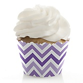Chevron Purple - Baby Shower Cupcake Wrappers & Decorations