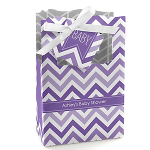 Chevron Purple - Personalized Baby Shower Favor Boxes