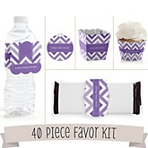 Purple Chevron - Do It Yourself 40 Piece Personalized Party Kit