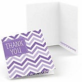 Purple Chevron - Baby Shower Thank You Cards - Set of  8