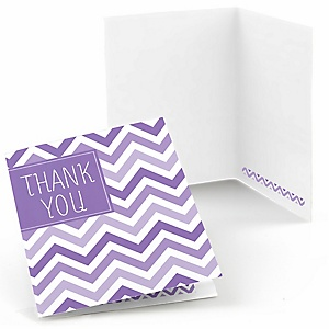 Chevron Purple - Baby Shower Thank You Cards - 8 ct