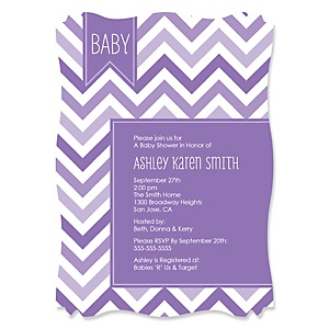 Chevron Purple - Personalized Baby Shower Invitations