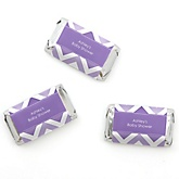 Purple Chevron - Personalized Baby Shower Mini Candy Bar Wrapper Favors - 20 ct