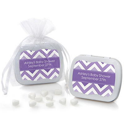 Purple Chevron - Mint Tin Personalized Baby Shower Favors...