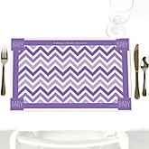 Chevron Purple - Personalized Baby Shower Placemats