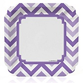 Purple Chevron - Baby Shower Dinner Plates - 8 Pack