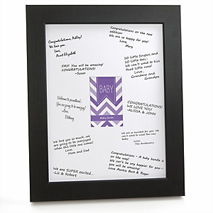 Purple Chevron - Personalized Baby Shower Print with Signature Mat