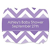 Purple Chevron - Personalized Baby Shower Squiggle Sticker Labels - 16 Count