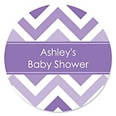Purple Chevron - Personalized Baby Shower Round Sticker Labels - 24 Count