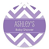 Chevron Purple - Round Personalized Baby Shower Tags - 20 ct