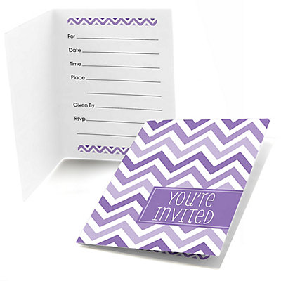 Chevron Purple - Bridal Shower Fill In Invitations - 8 ct
