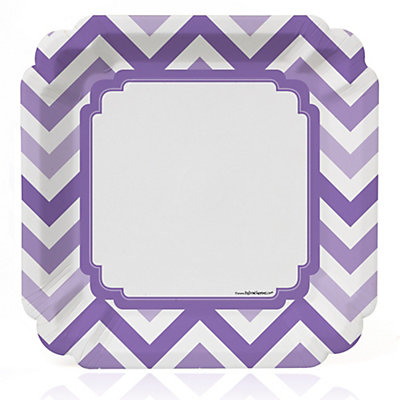 Chevron Purple - Bridal Shower Dinner Plates - 8 ct...