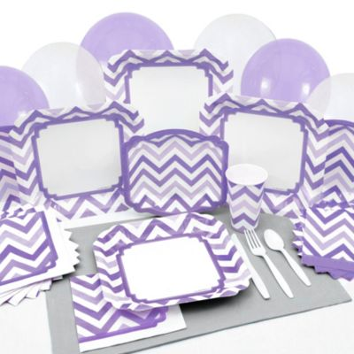 chevron purple bridal shower tableware
