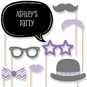 Purple Chevron - Baby Shower Photo Booth Props Kit - 20 Props