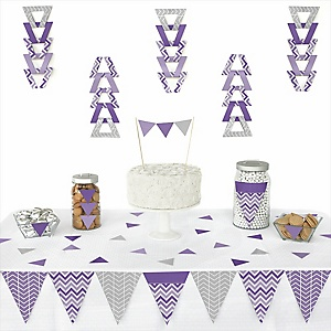 Chevron Purple - 72 Piece Triangle Party Decoration Kit