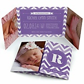 Purple Chevron - Photo Birth Announcements