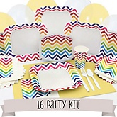 Rainbow Chevron - 16 Person Baby Shower Kit