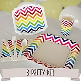 Rainbow Chevron - 8 Person Baby Shower Kit